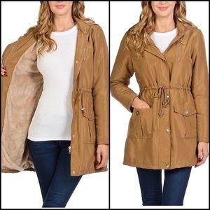 Jackets & Blazers - Hooded Faux Fur Lined Utility Jacket